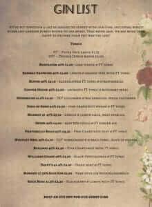 The Parlour - Gin List