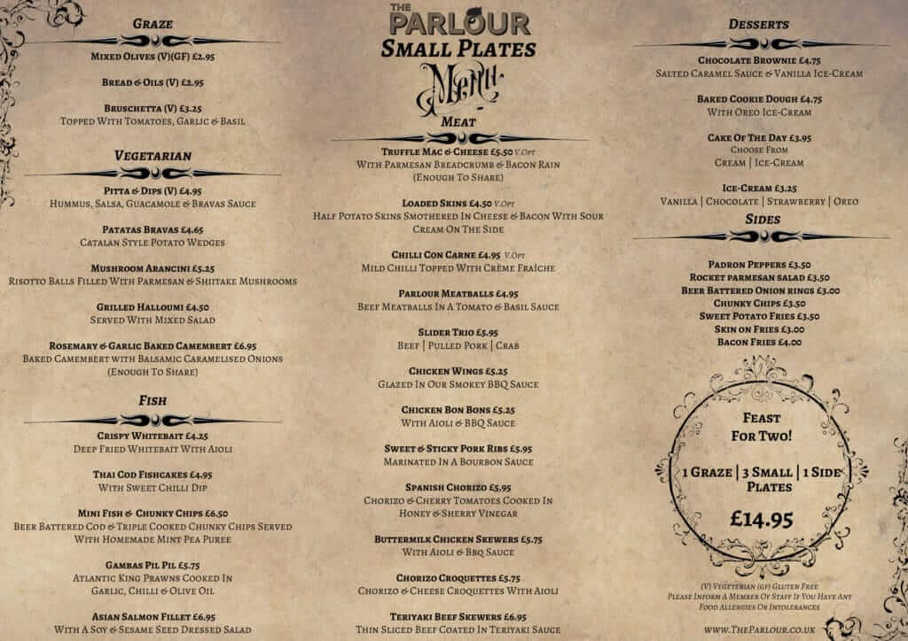 The Parlour Small Plate Menu 2017